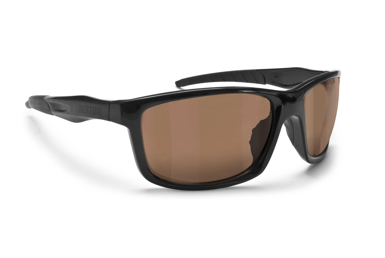 Occhiali Fotocromatici Polarizzati per Ciclismo e Running - Bertoni Alien PFT02 Sport - Colore nero lucido - Lente Fotocromatica Polarizzata Marrone