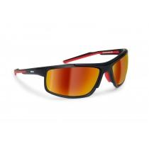 Occhiali da Ciclismo MTB BIci Running con lente intercambiabile D180C by Bertoni Italy (nero opaco / rosso lava) | 2 Lenti intercambiabili incluse