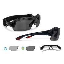Photochromic Polarized Cycling Sunglasses for Prescription Lenses (shiny black) P399FTD