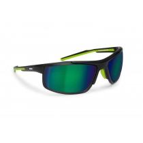 Occhiali da Ciclismo Bici MTB e Running D180M by Bertoni Italy (nero opaco / verde) | 2 Lenti intercambiabili incluse