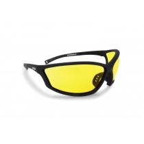 """Occhiali con lente gialla antiappannante 100% UV protection - Montatura nero gomma effetto """"soft touch"""" in policarbonato antiurto - Forma avvolgente che migliora la visione periferica AF100A"""