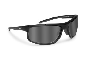 Occhiali fotocromatici polarizzati sportivi ciclismo golf running - lenti antifog - nasello regolabile - by Bertoni Italy P180FTA  - nero opaco
