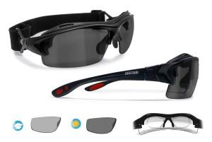 Occhiali Ciclismo da Vista Fotocromatici Polarizzati (nero lucido) P399FTD